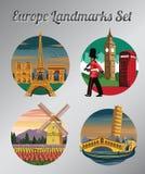 Beroemd oriëntatiepunt en symbool van Frankrijk, Engeland, Nederland en Italië voor doek en Webontwerp, uitstekende kleur vector illustratie