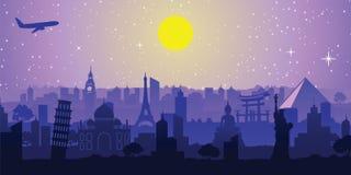 Beroemd oriëntatiepunt van de wereld, kleurrijk silhouetontwerp stock illustratie