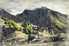 Beroemd oriëntatiepunt van Hevsureti in Georgië - ruïnes van middeleeuwse vill royalty-vrije stock afbeeldingen