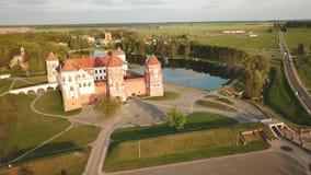 Beroemd Ori?ntatiepunt, Unesco-Werelderfenis Mirsky zamok, Wit-Rusland stock footage