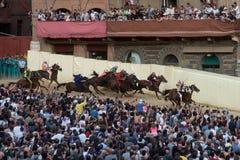 Beroemd paardenkoers` Palio Di Siena ` Royalty-vrije Stock Foto