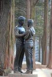Beroemd Standbeeld van Bae Yong-Joon en Choi Ji-Woo van Koreaanse Telev Royalty-vrije Stock Afbeeldingen