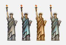 Beroemd Standbeeld van Vrijheid Symbool de Verenigde Staten van Amerika Vector illustratie vector illustratie