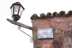 Beroemd straatteken, Calle DE los Suspiros, Uruguay royalty-vrije stock foto