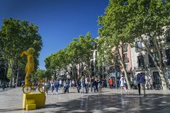 Beroemd voet de wegoriëntatiepunt van lasramblas in barcel van de binnenstad Stock Foto's