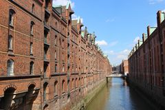 "Beroemde ""Speicherstadt"" in Hamburg, Duitsland, Europa royalty-vrije stock foto's"
