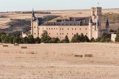 Beroemde Alcazar van Segovia, middeleeuwse vesting en één van de beroemdste kastelen in Europa Spanje royalty-vrije stock foto's
