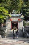 Beroemde Chinese de tempelingang van oriëntatiepuntama in Macao Macao stock afbeelding