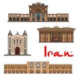 Beroemde de architectuurpictogrammen van Iran vector illustratie