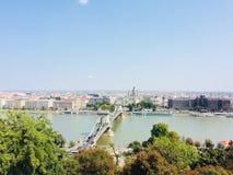 Beroemde de Kettingsbrug van Boedapest stock afbeeldingen