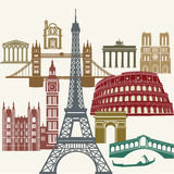 Beroemde Europese oriëntatiepunten Stock Foto's