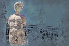Beroemde fontein van schande op barokke Piazza Pretoria, Palermo, Sicilië vector illustratie