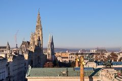 Beroemde gebouwen en architectuur van Wenen in Oostenrijk Europa stock fotografie