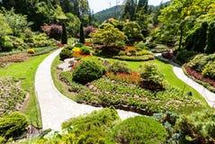 Beroemde Gedaalde Tuin bij Butchart-Tuinen stock afbeeldingen