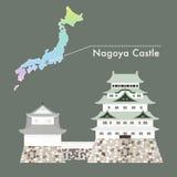 Beroemde het Kasteelvector van Japan - het Kasteel van Nagoya Royalty-vrije Stock Fotografie