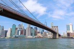 Beroemde Horizon van Stad de van de binnenstad van New York, van Brooklin Bridge en van Manhattan, New York royalty-vrije stock foto's