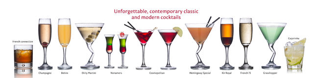 Beroemde internationale cocktails Stock Fotografie