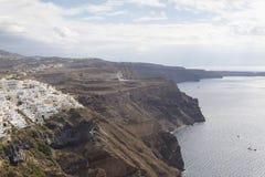 Beroemde mening over het dorp van Oia bij het Eiland Santorini, Griekenland Royalty-vrije Stock Fotografie