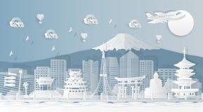 Beroemde oriëntatiepunten in de Malplaatjes van Japan voor de reclame van luchtkaartjes en kaartjes met het concept het reizen n royalty-vrije illustratie