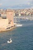 Beroemde oude haven van Marseille, Frankrijk stock afbeelding