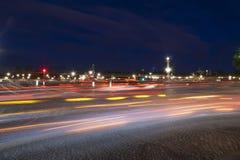 Beroemde Parijse Lichten na Middernacht, Parijs, Fran Royalty-vrije Stock Afbeelding