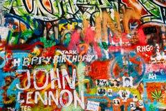 Beroemde plaats in Praag - John Lennon Wall Stock Foto's
