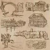 Beroemde plaatsen en architectuur - hand getrokken vector vector illustratie