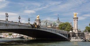 Beroemde Pont-Brug Alexandre III, Parijs, Frankrijk Stock Foto