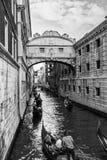 Beroemde Rialto-Brug en Gondels, Venetië - Italië Stock Foto
