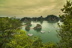 Beroemde snelle boten, Eiland in Halong-Baai, Vietnam stock fotografie