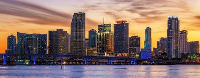 Beroemde stad van Miami bij zonsondergang Royalty-vrije Stock Fotografie