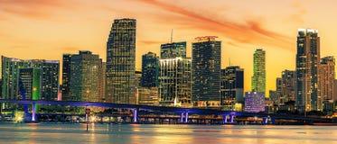 Beroemde stad van Miami, de zomerzonsondergang Royalty-vrije Stock Fotografie