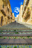 Beroemde stappen in Caltagirone, Sicilië Stock Foto