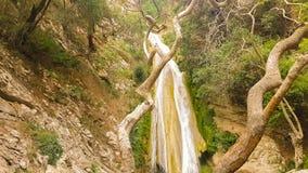 Beroemde toeristische bestemmingsneda waterval in de Peloponnesus in Griekenland stock footage