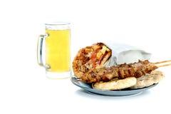 Beroemde, traditionele Griekse snacks geroosterde soufflaki Stock Foto