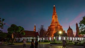 Beroemde van het de tempel vierkante panorama van wat arun Bangkok de tijdtijdspanne Thailand 4k stock videobeelden