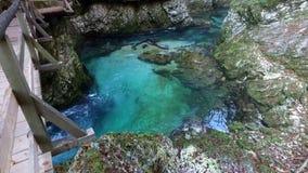 Beroemde Vintgar-dalingen van Slovenië stock videobeelden