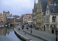 Beroemde waterkant Graslei in Gent Royalty-vrije Stock Afbeelding