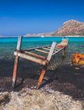 Beroemde witte stranden van Blauwe Lagune, Balos, het eiland van Kreta stock foto's