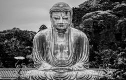 Beroemdste oriëntatiepunt in Kamakura - Grote Boedha Daibutsu royalty-vrije stock afbeelding