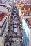 Beroemdste straat in Lissabon - Augusta Street - LISSABON - PORTUGAL - JUNI 17, 2017 Royalty-vrije Stock Foto's