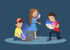 Beroende för grej för barn` s Ungar med elektroniska apparater Tecknad filmvektorillustration som isoleras på mörker - blått vektor illustrationer