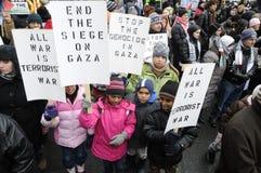 Beroep anti-Israël van de Verzameling van Gaza. Stock Foto