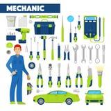 Beroep Auto Mechanisch Icons Set met Hulpmiddelen voor Autoreparaties Stock Afbeeldingen