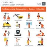 Beroepen en beroepen gekleurde pictogramreeks reparatie Stock Afbeeldingen