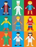 Beroepen met Kleuren & Schaduwen vector illustratie
