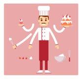 Beroepsbanketbakker Mens Karakter voor animatie Vector stock fotografie