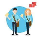 Beroepskarakters: man en vrouw Brievenbesteller of brievenbesteller Stock Fotografie
