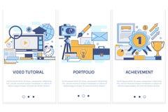 Beroepsopleiding, onderwijs portefeuille Voltooiing van hoog doelstellingen concepten videoleerprogramma Moderne dunne vlakke lij vector illustratie