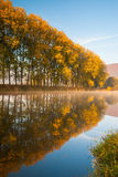 On the Berounka river in the morning. Autumn landscape near the Berounka river in Cernosice stock photo